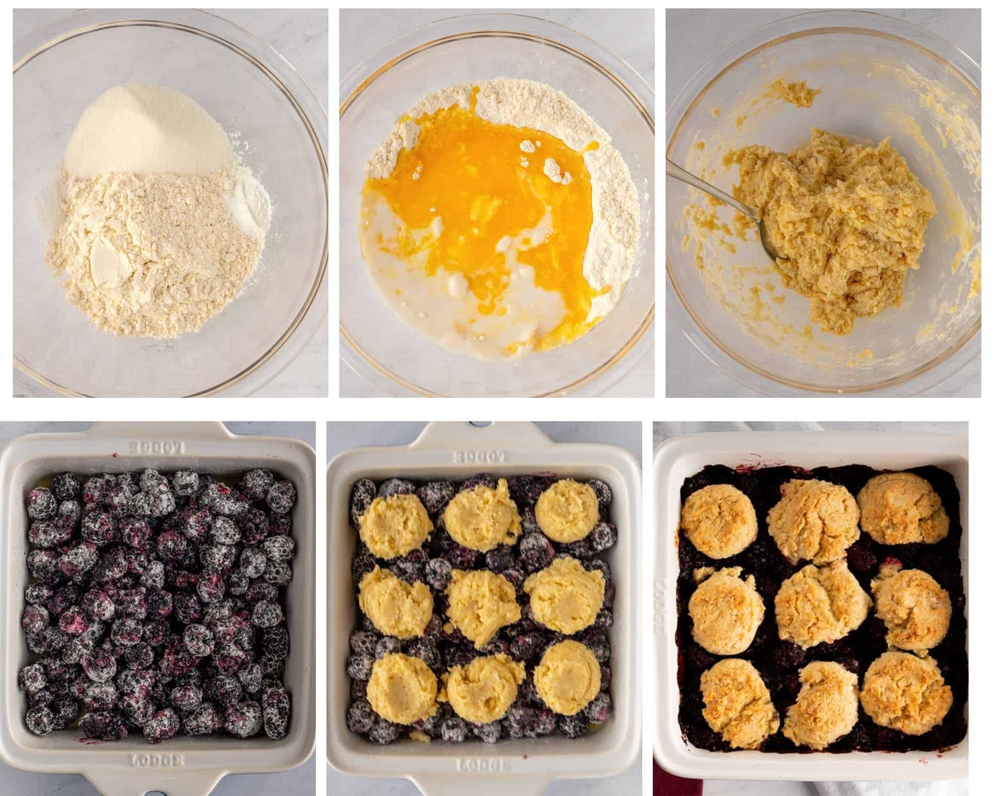 Photos showing steps to make vegan blackberry cobbler