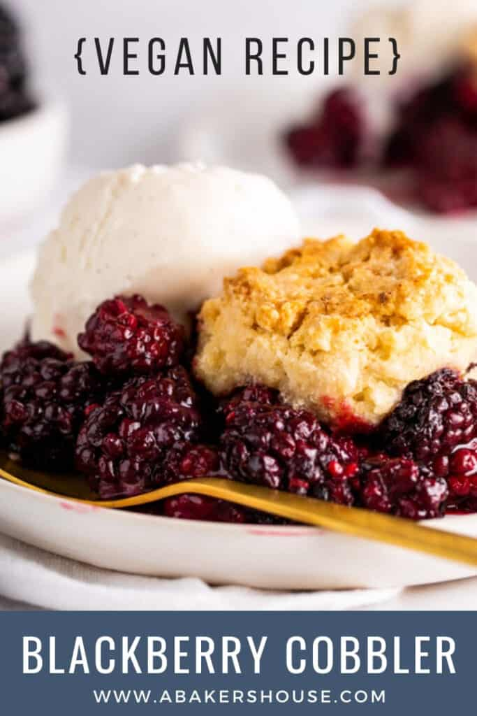 Pinterest image of blackberries with cobbler