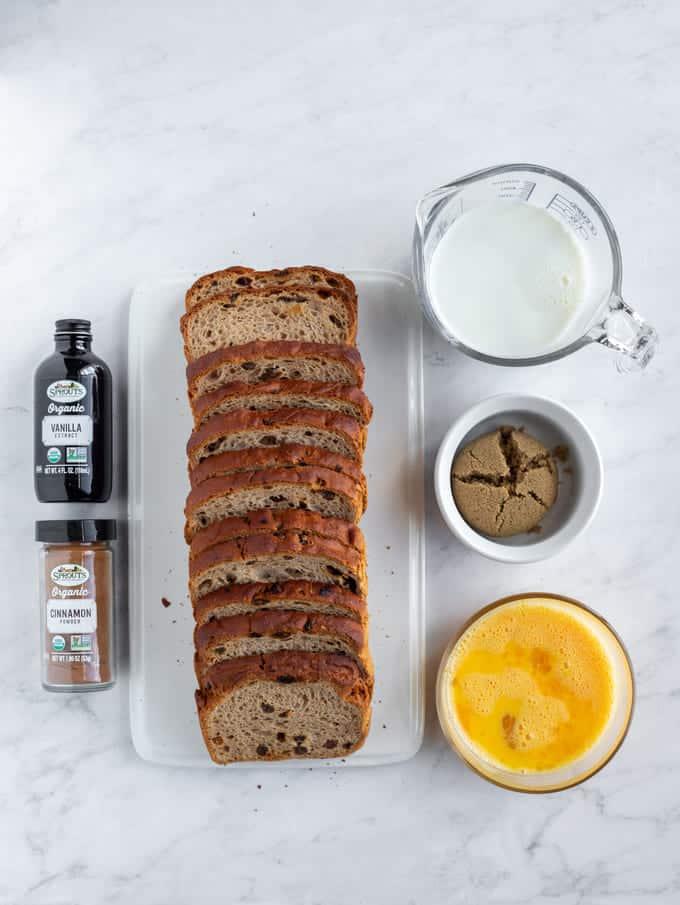 Gluten free bread, eggs, cinnamon, milk, vanilla
