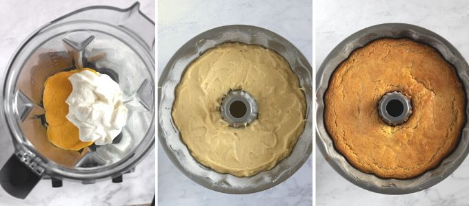 step by step photos showing how to make mango bundt cake