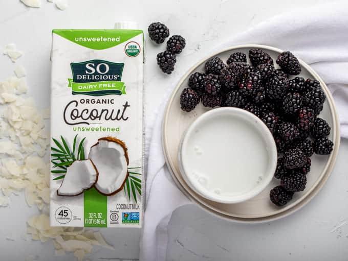 So delicious coconutmilk and blackberries