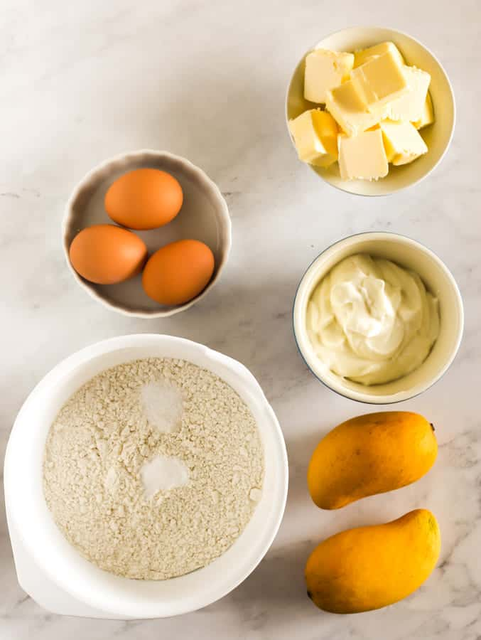 ingredients for mango bundt cake