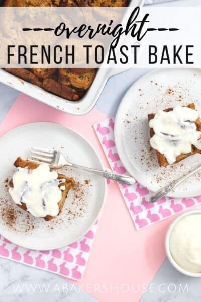 Pinterest image for french toast bake pink napkins