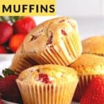 Strawberry muffins in a pile on two white plates