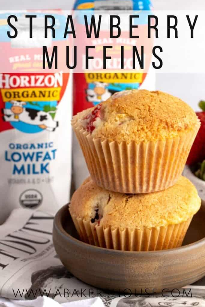 GF Strawberry Muffins in stack of two with Horizon milk cartons