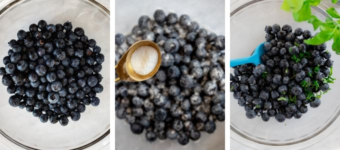 Three photos showing steps to macerate blueberries with sugar and basil