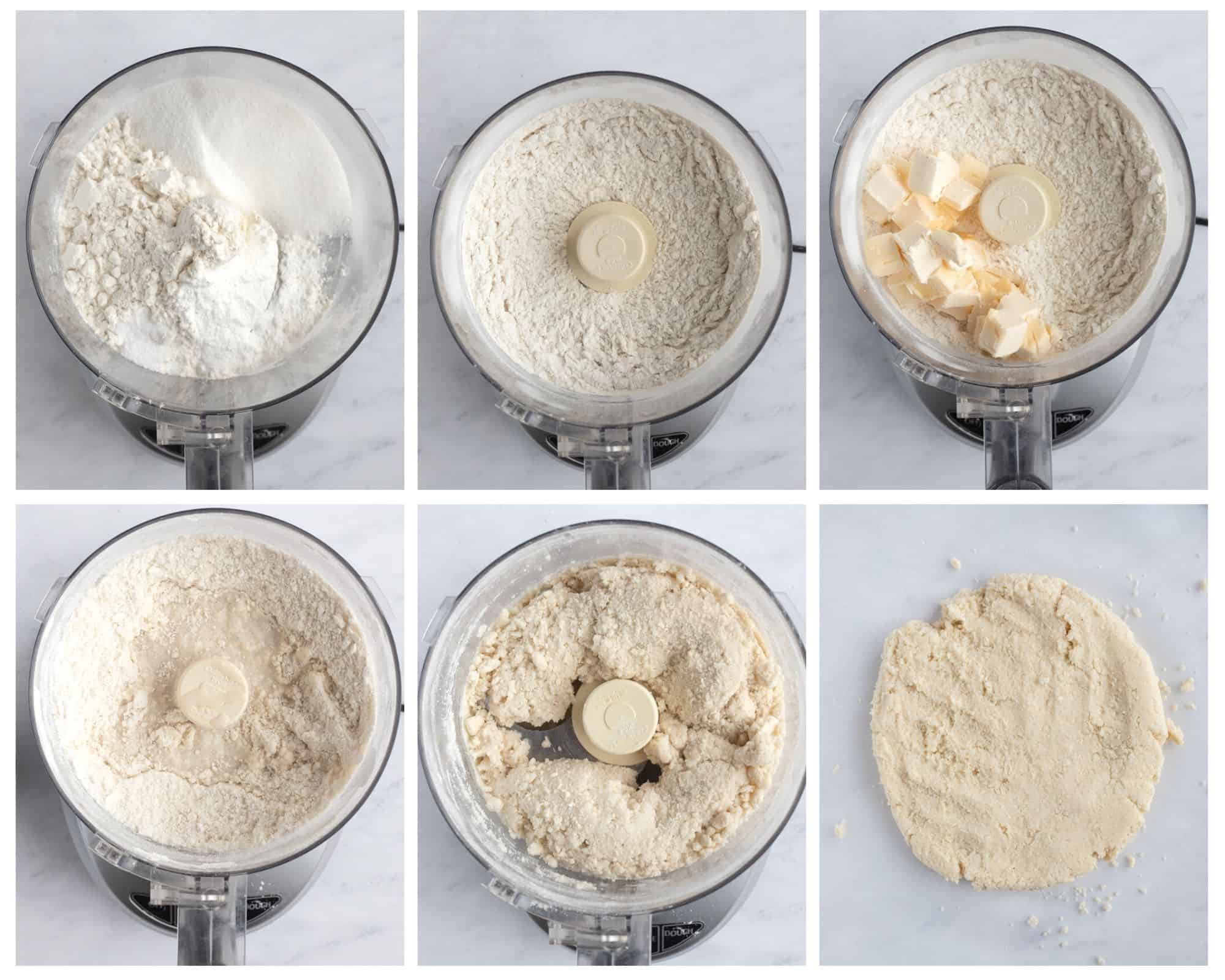 six photos with steps to make vegan biscuits in food processor