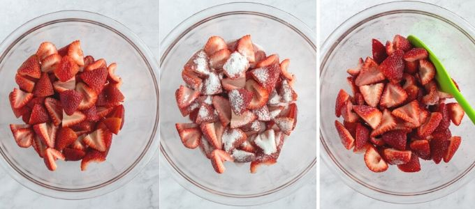 three photos showing steps to make macerated strawberries with sugar