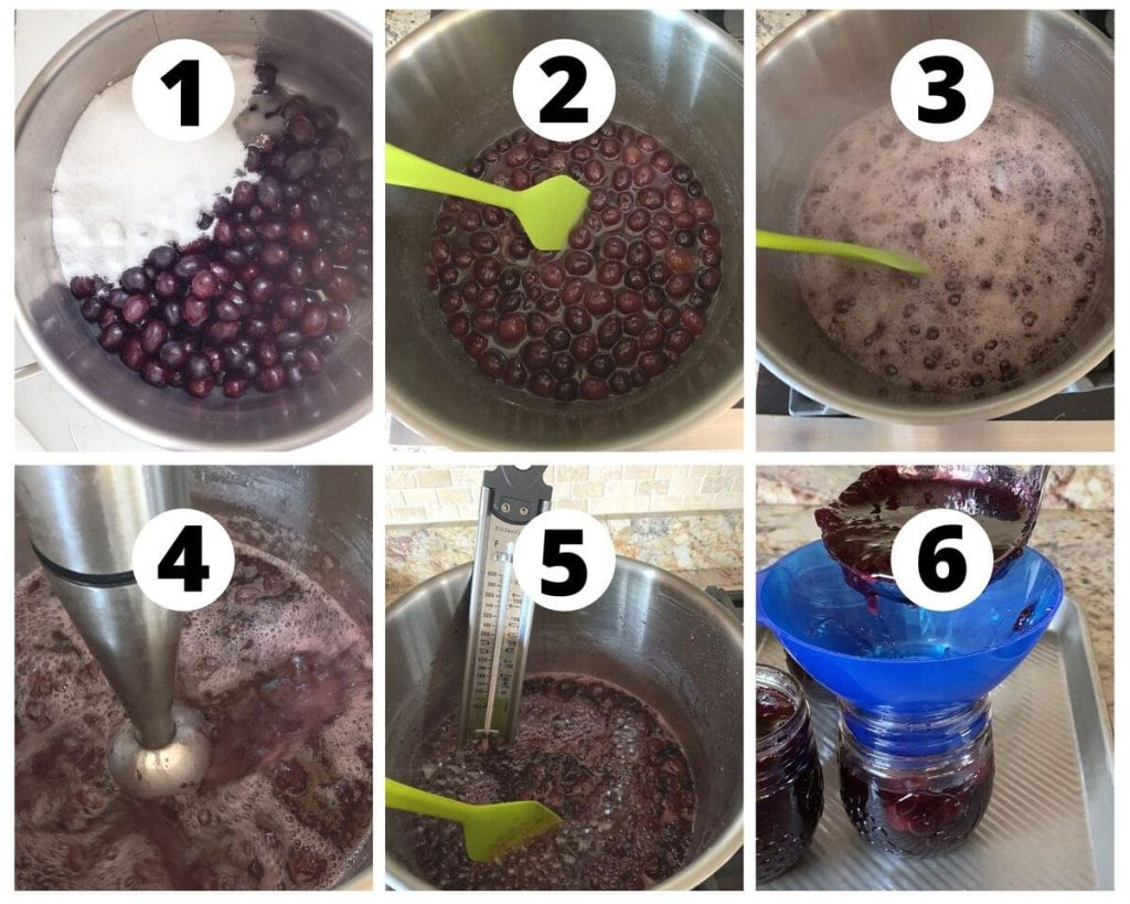 Six images showing step by step process to make grape jam
