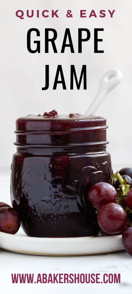 Close up of jar of grape jam with fresh grapes on plate
