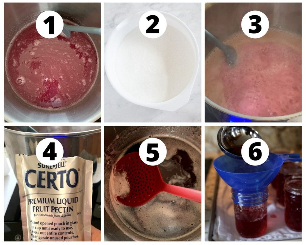 Six photos showing steps to make grape jelly from scratch