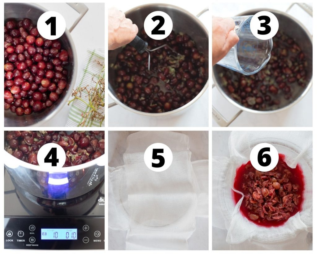 Six photos showing steps of how to make grape juice