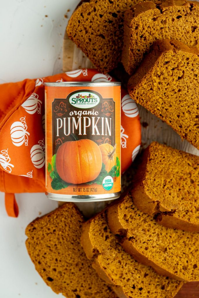 Canned pumpkin with slices or gf pumpkin bread