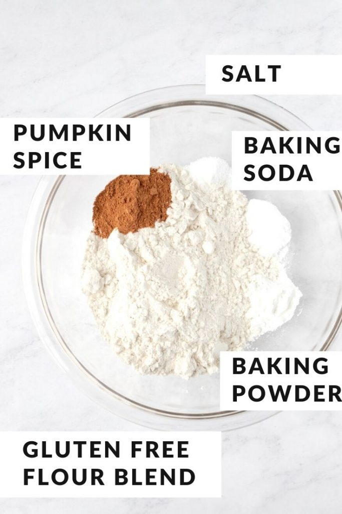 dry ingredients for pumpkin bread in a bowl with text labels