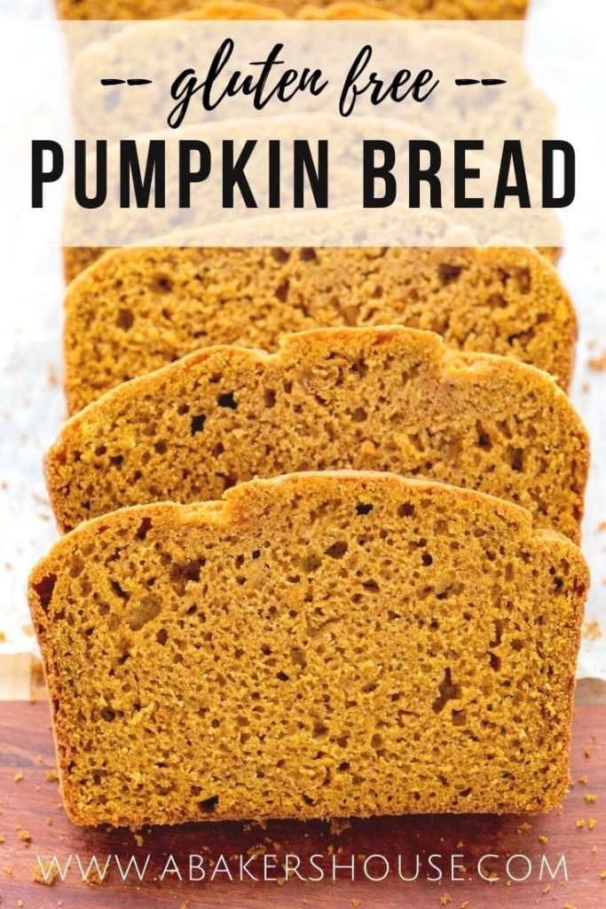 Close up image of slices of gluten free pumpkin bread