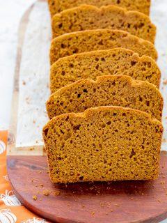 slice of gf pumpkin bread