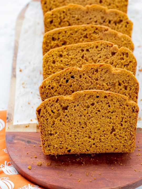 slice of gf pumpkin bread