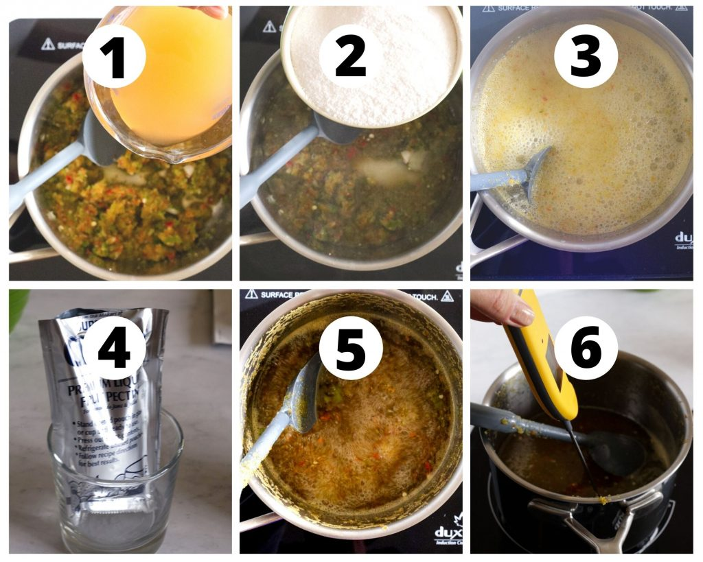 Six photos showing steps to cook hot pepper jelly in saucepan