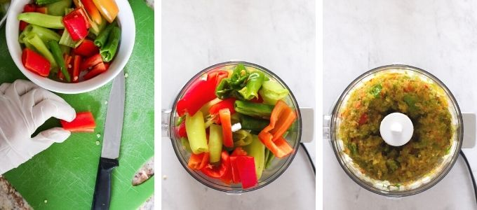 Three photos showing steps to cut hot peppers and onions for hot pepper jelly.