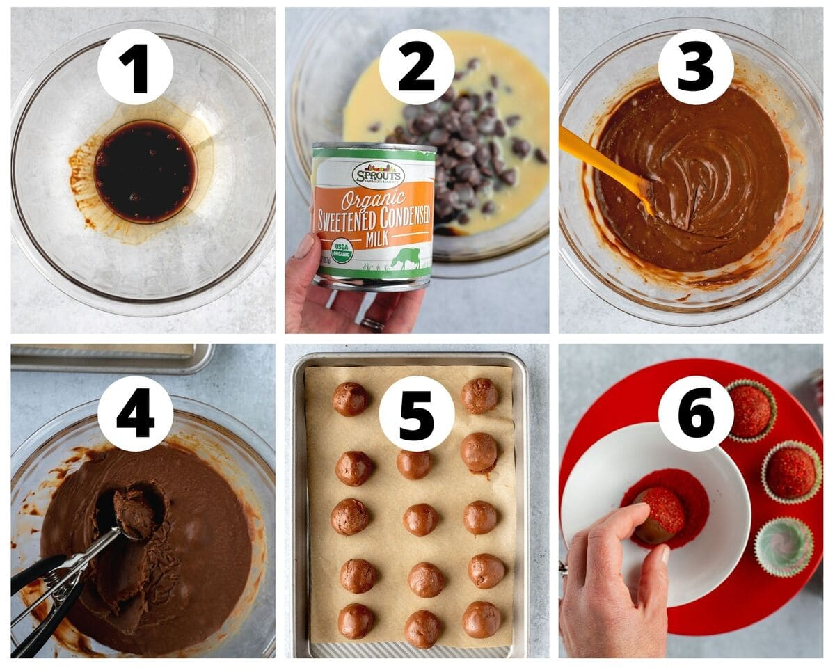 Six photos showing steps to make mocha truffles