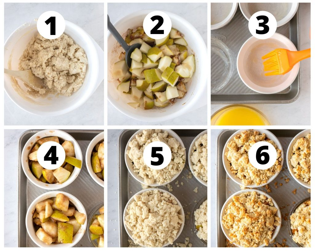 Photo steps for making pear cobbler