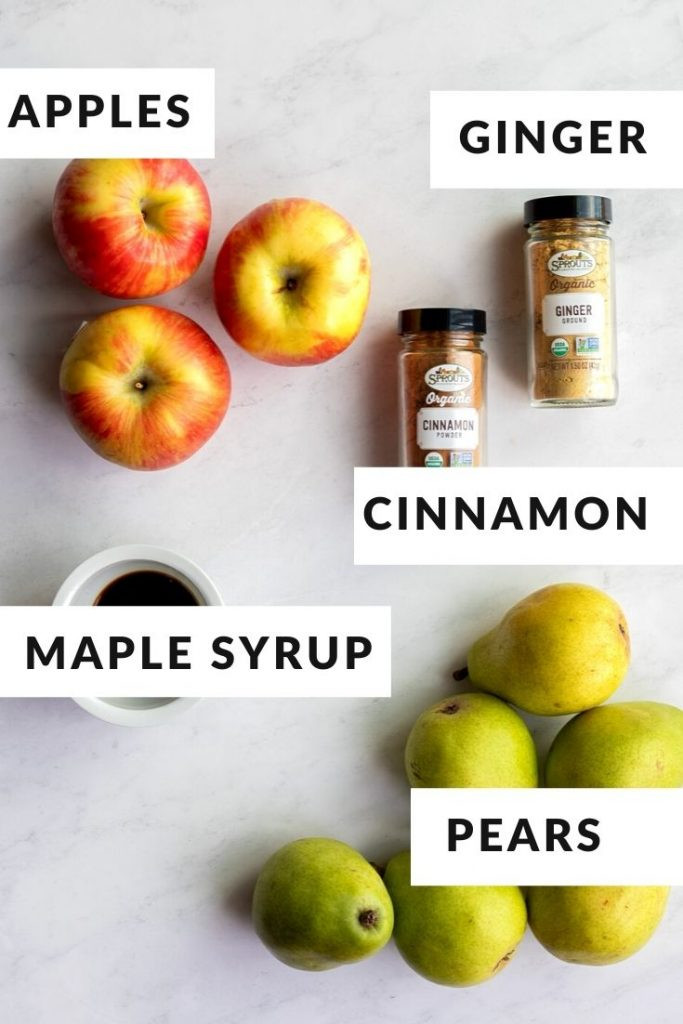 Ingredients for apple pear butter including apples, pears, spices and maple syrup