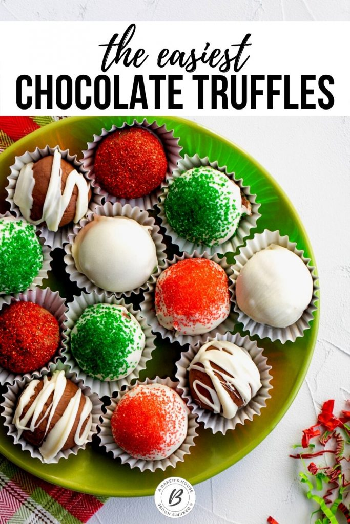 assorted holiday chocolate truffles on green plate