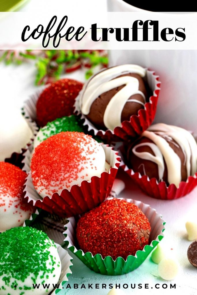 close up of red, green and white chocolate drizzled mocha truffles on white plate