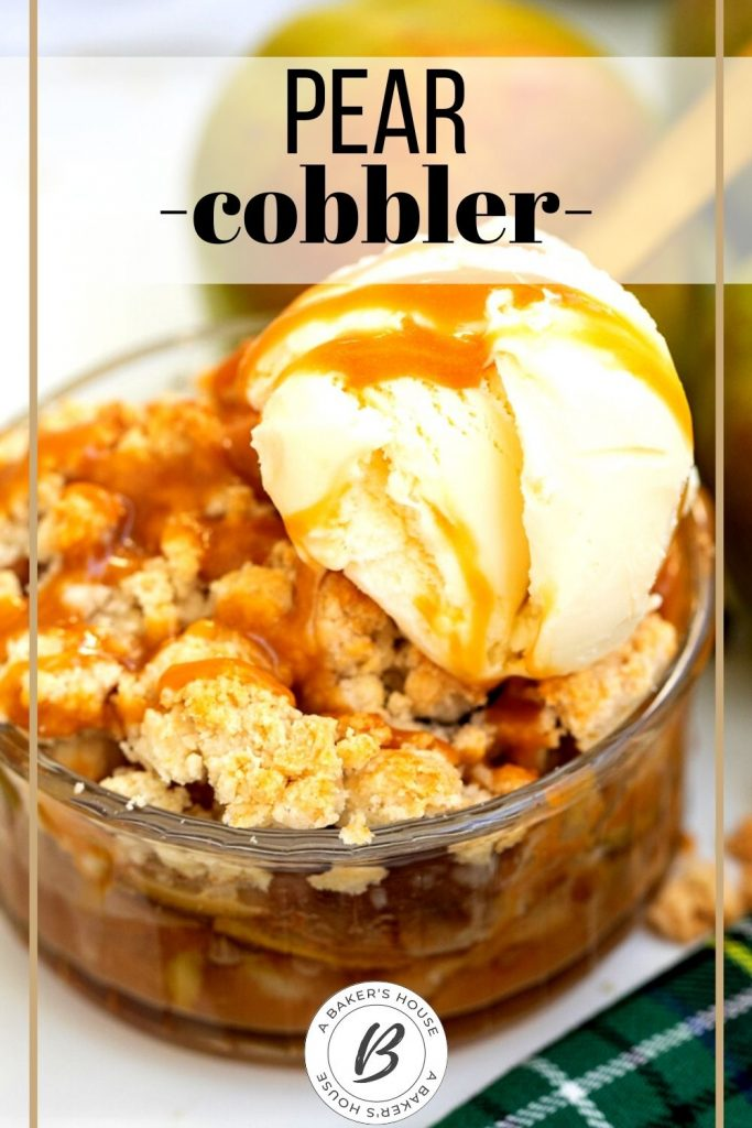 juicy pear cobbler close up