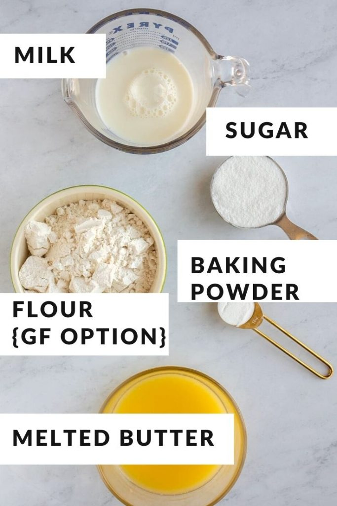 Ingredients for gluten free cobbler topping with gf flour, baking powder, sugar and melted butter