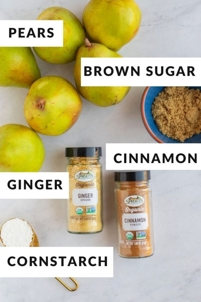 Ingredients for pear filling of pears, brown sugar, cinnamon, ginger and cornstarch