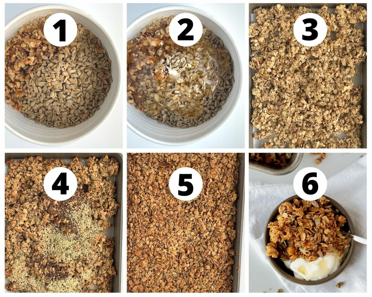 six step by step photos of how to make homemade honey granola