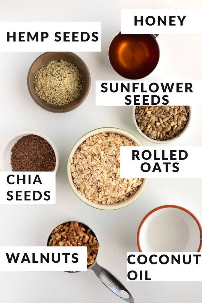 Ingredients labeled for honey granola recipe