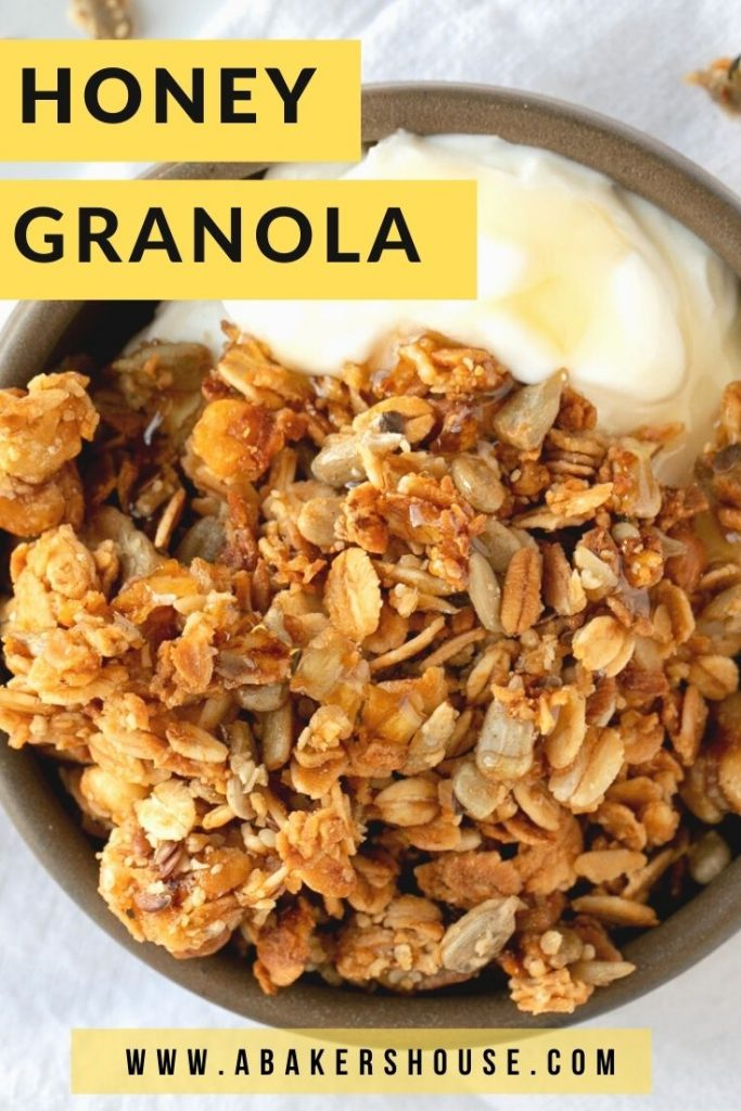 Golden honey granola atop yogurt