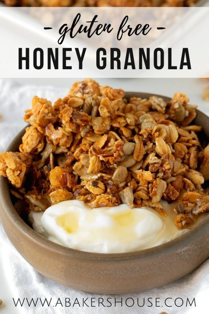 close up of granola with yogurt in brown pottery bowl