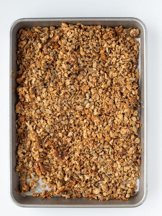 baking tray with baked honey granola homemade