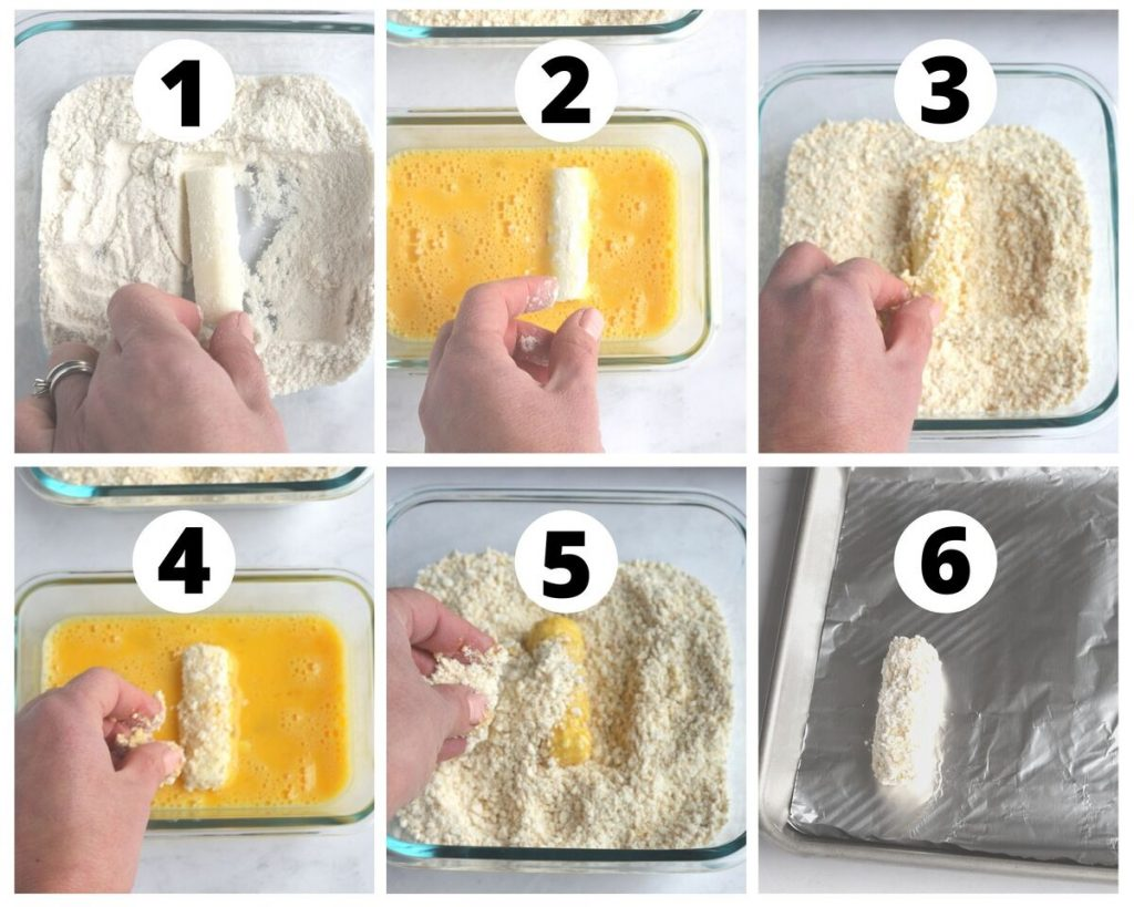 six photos showing step by step guide to how to bread fried food