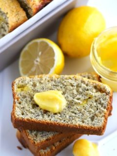 slices of lemon poppy seed bread with dollop of lemon curd