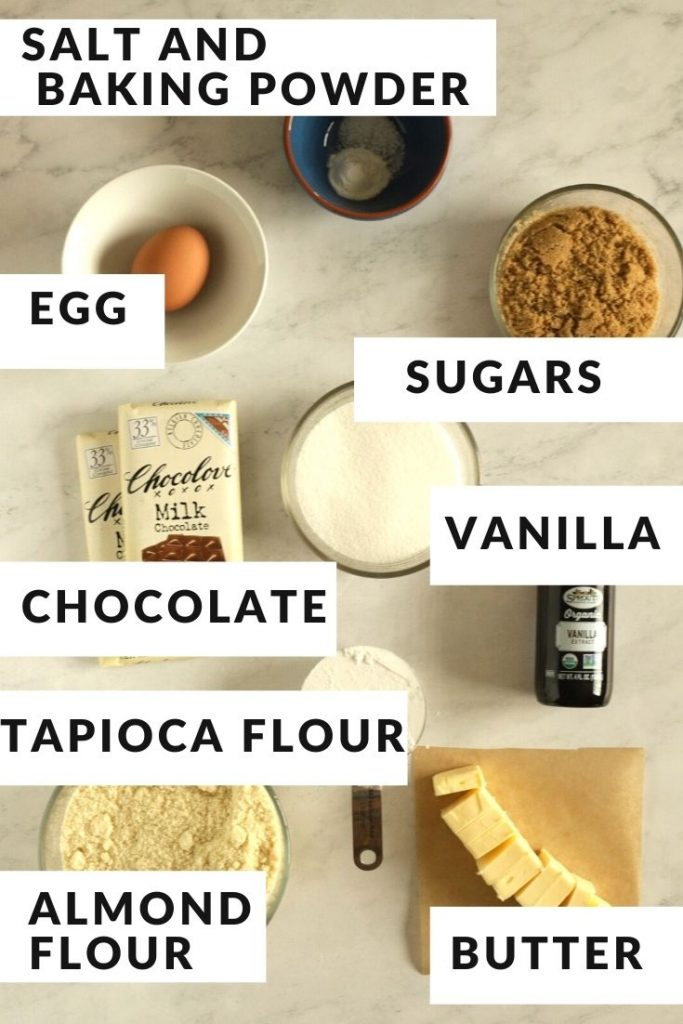 ingredients labeled with text for almond flour chocolate chip cookies