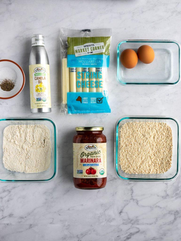 ingredients for gluten free mozzarella sticks