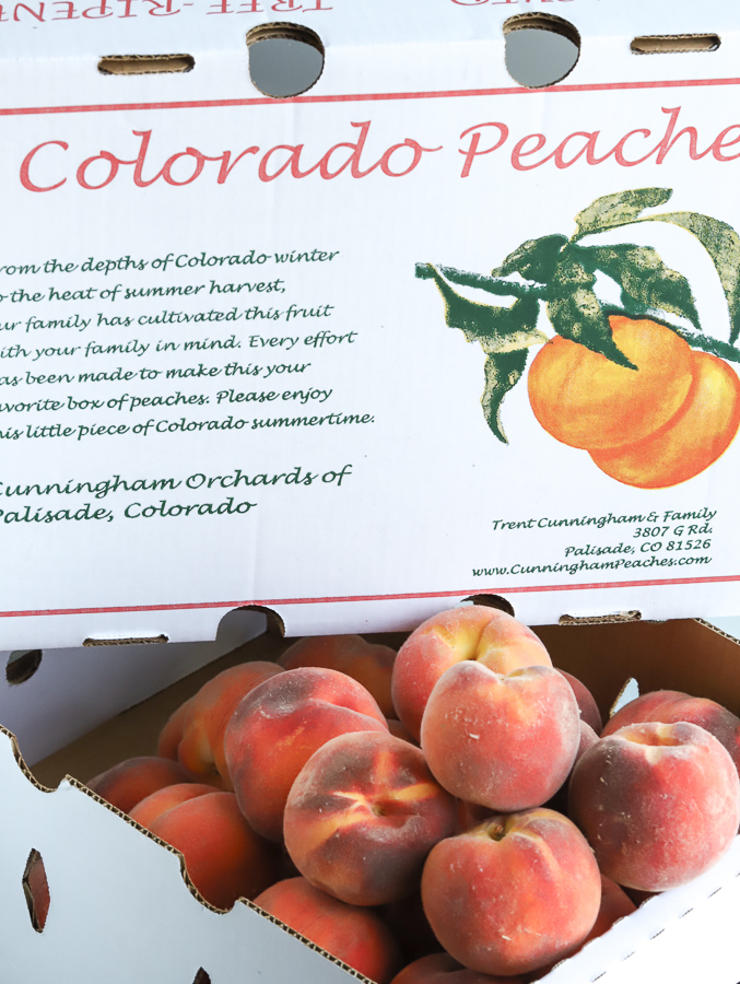 Box of peaches from Cunningham Orchards in Colorado