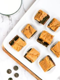 overhead look at cut pieces of peanut butter chocolate fudge