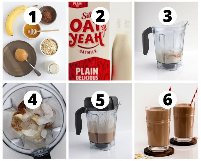 six photos showing steps of how to make a chocolate peanut butter smoothie
