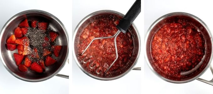 three photos showing steps to make strawberry chia jam on stovetop