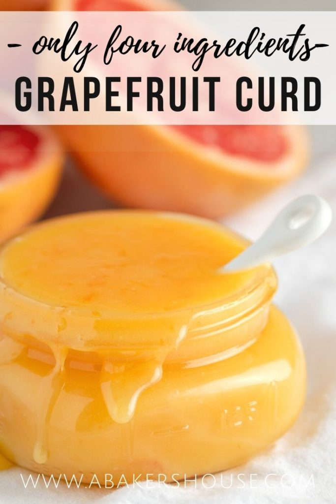 close up grapefruit curd in mason jar with text overlay