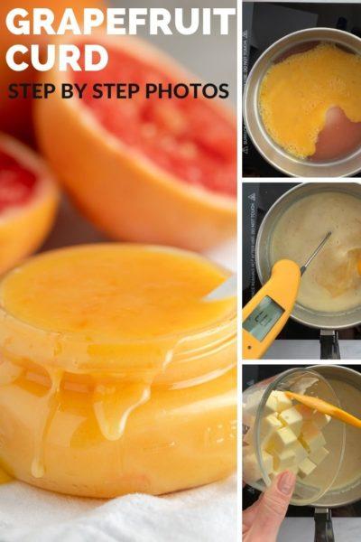 four photos showing steps to make grapefruit curd