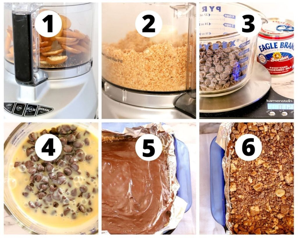 six photos showing steps to recipe for kit kat bars
