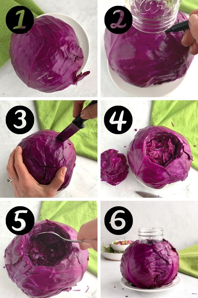 six photos showing steps to use a cabbage as flower centerpiece base with flowers