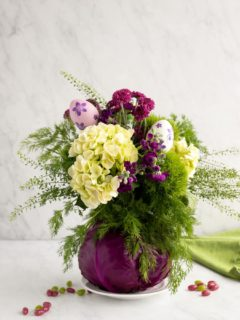 cabbage as a vase for flower arrangement
