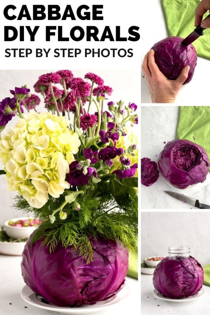 four images showing steps to make flower arrangement with cabbage base for Easter